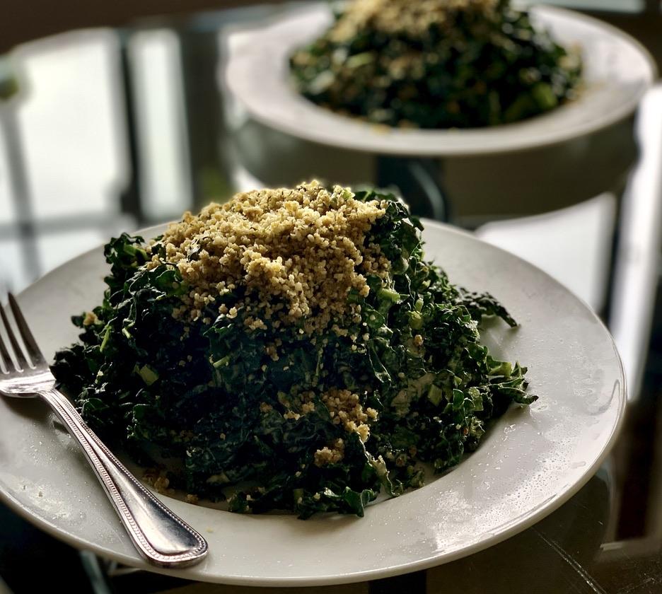 Massaged Kale Ribbon Vegan Caesar Salad