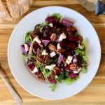 Rosemary Citrus Beet Salad with Maple Pecans topped with Lux Vegan Macadamia Ricotta