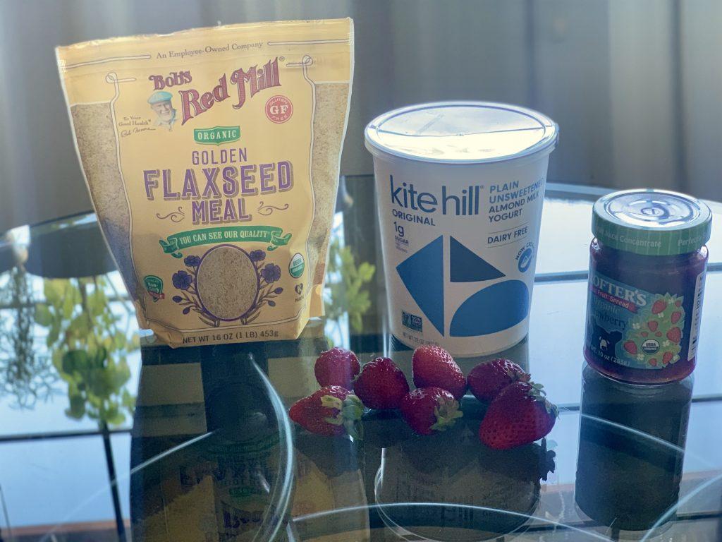 Ingredients for Easy 3-ingredient Vegan Yogurt Snack; fresh strawberries are optional