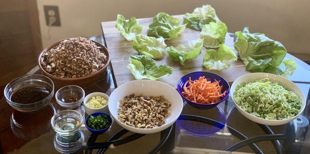 Prepped ingredients for Let's Make Vegan Mushroom Lettuce Cups